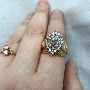 10k yellow gold diamond cluster ring vintage